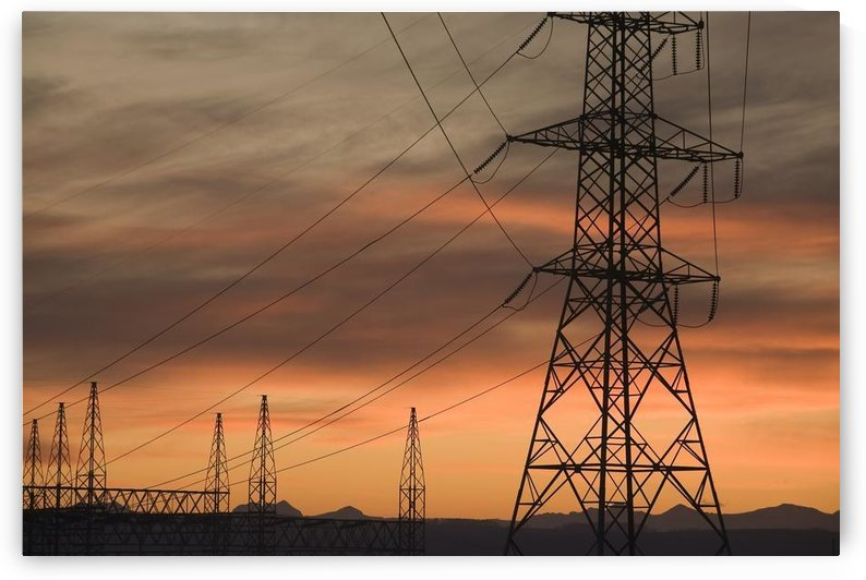 Calgary, Alberta, Canada; Electricity Towers And Wires At Sunset by PacificStock