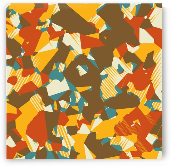 geometric graffiti drawing and painting abstract in brown yellow blue and orange by TimmyLA