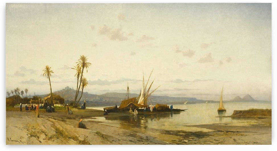 Landscape with figures along the shores of the Nile by Hermann David Salomon Corrodi