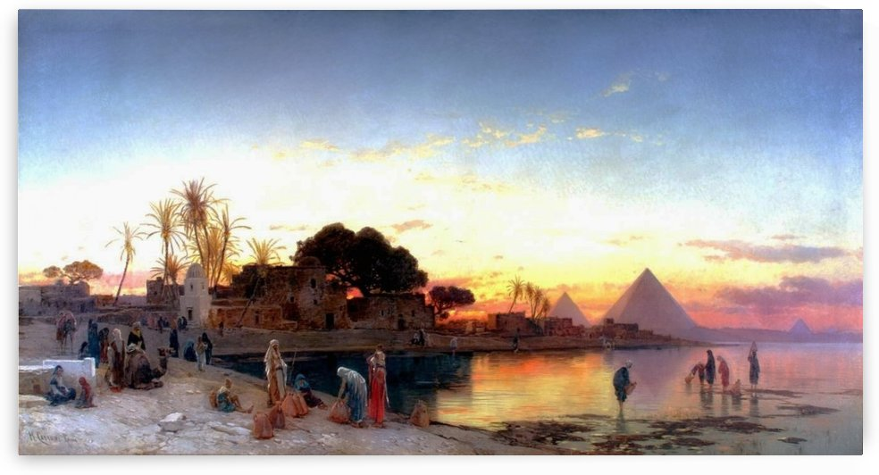 Landscape on the Nile with the pyramids in the back by Hermann David Salomon Corrodi