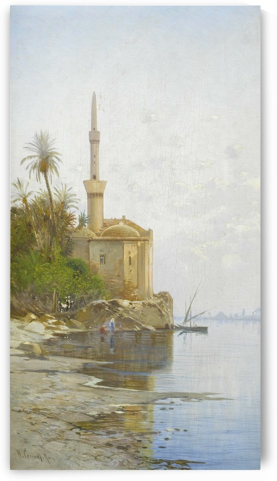 Fishermans and a boat on the banks of the Nile by Hermann David Salomon Corrodi