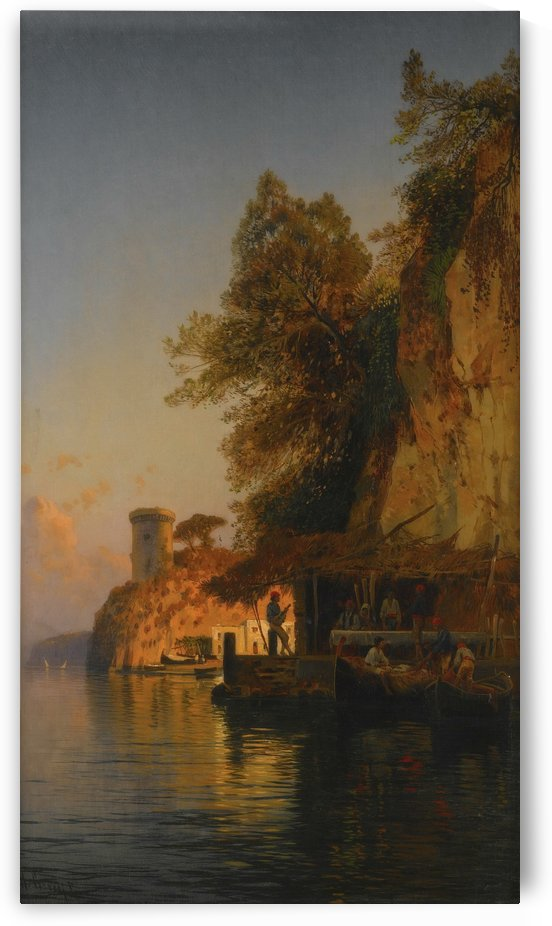 Sun going down along the Nile by Hermann David Salomon Corrodi