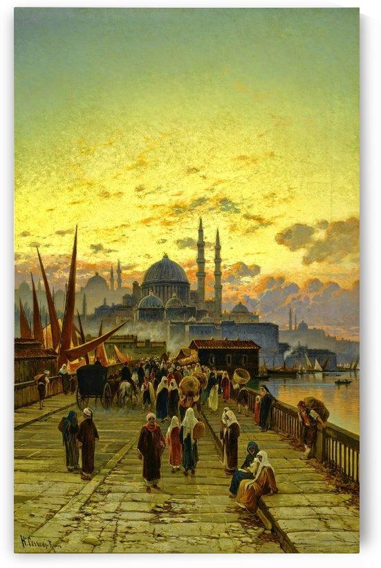 Oriental figures on a bridge that takes them to the market by Hermann David Salomon Corrodi