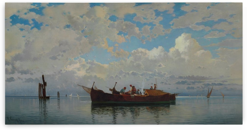 Fishing boats on a lagoon of Venice by Hermann David Salomon Corrodi