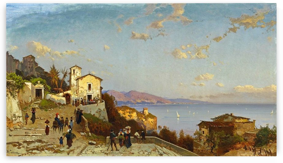 Villaggio di montagna sulla costa ligure by Hermann David Salomon Corrodi