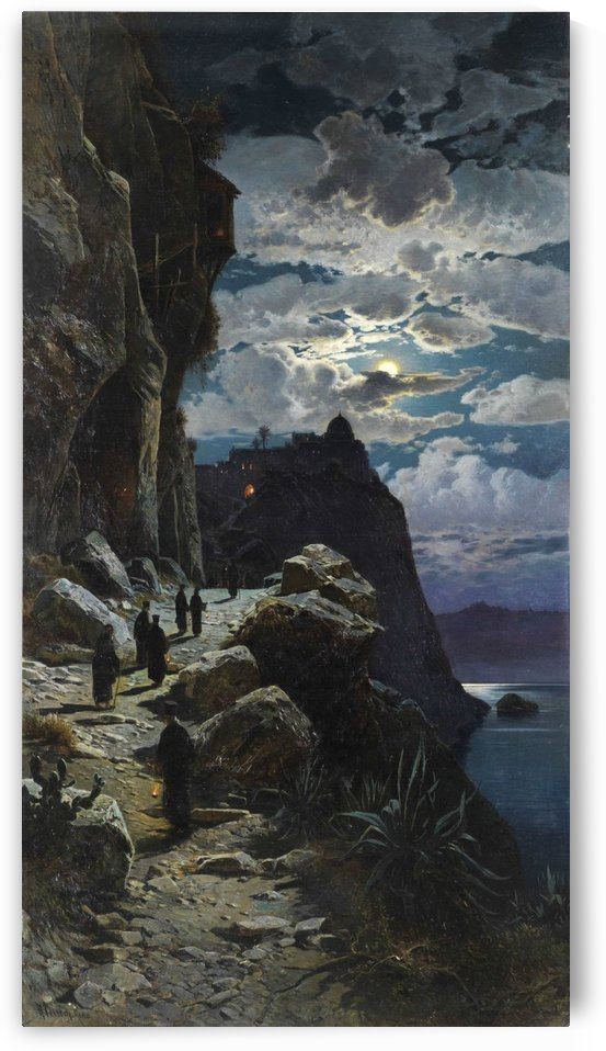Monks on the path to the monastery on the mount Athos by Hermann David Salomon Corrodi