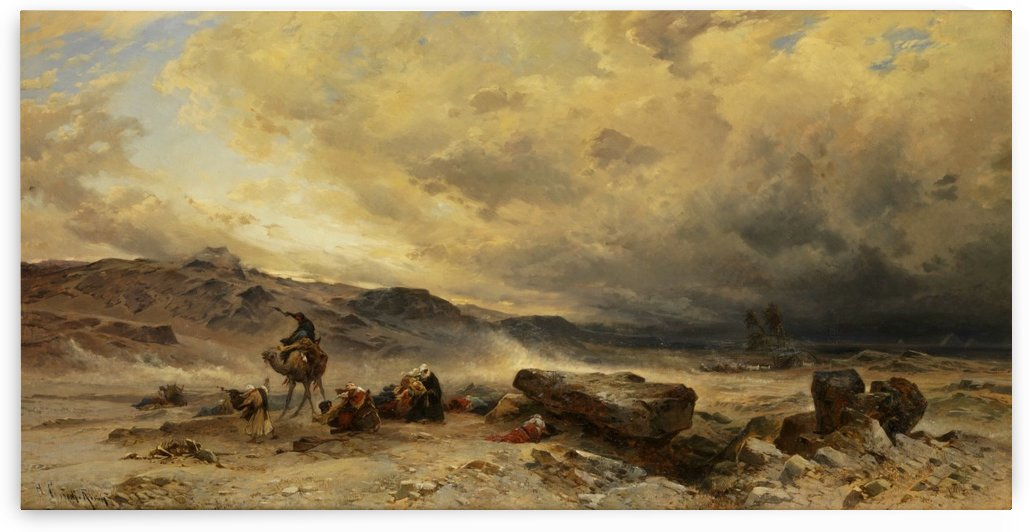 Caravan in a sandstorm by Hermann David Salomon Corrodi