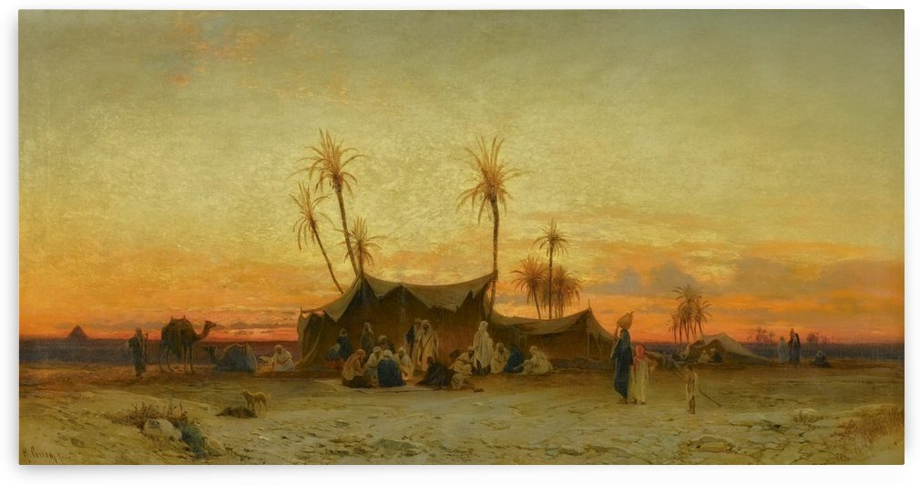 An Arab encampment at sunset by Hermann David Salomon Corrodi