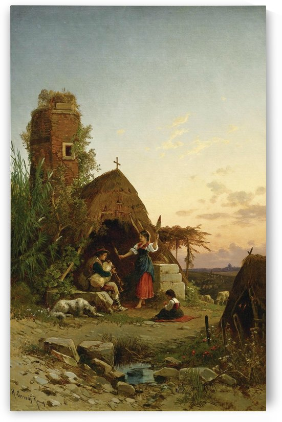 Gypsies in the campagnia by Hermann David Salomon Corrodi
