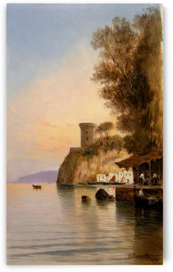 A view from Italy with boat at sunset by Hermann David Salomon Corrodi