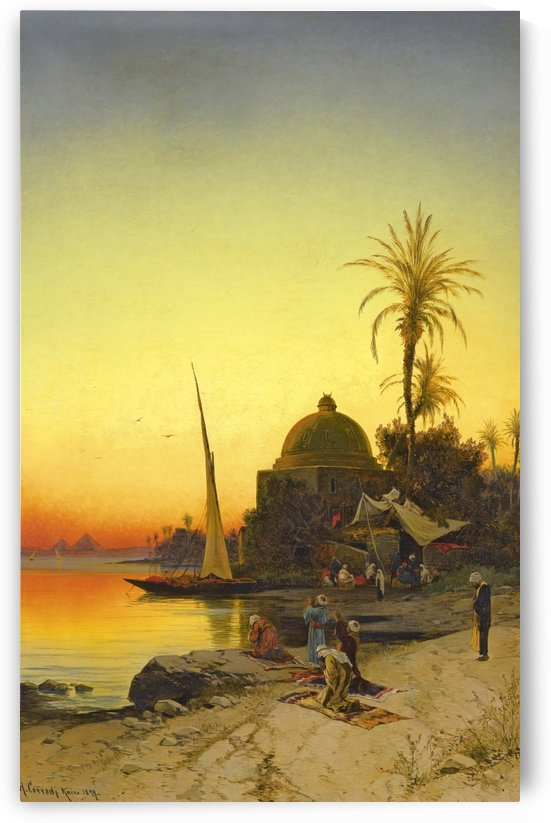 People praying on the banks of the Nile by Hermann David Salomon Corrodi