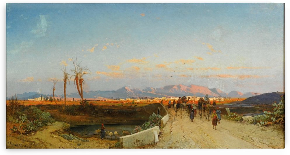 Landscape with figures outside Nicosia by Hermann David Salomon Corrodi
