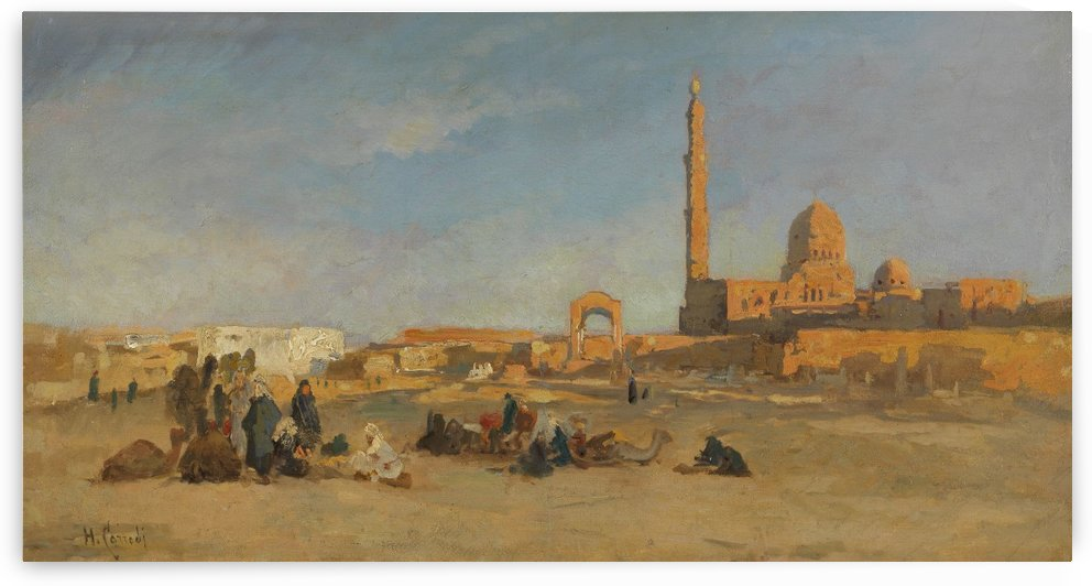 View of the caliph tombs of Cairo by Hermann David Salomon Corrodi