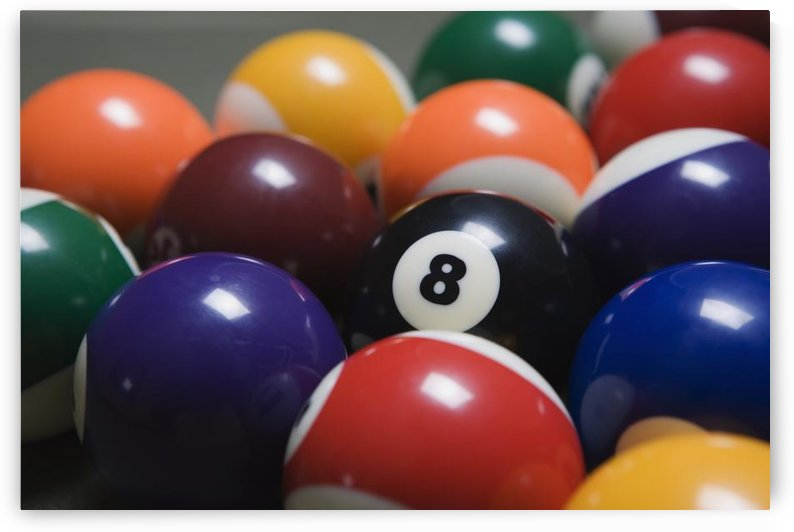 Close Up Of Pool Balls Racked On A Billiard Table Focused On The Eight Ball by PacificStock