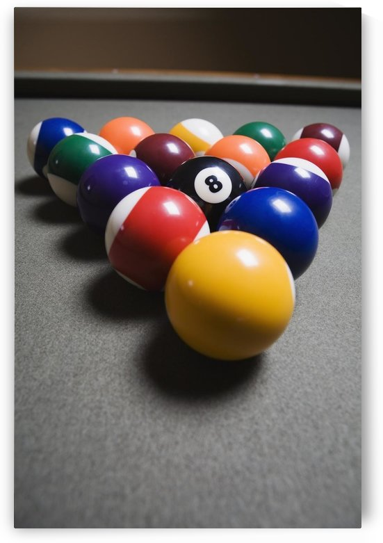 Pool Balls On A Billiard Table With The Eight Ball Facing Upwards by PacificStock