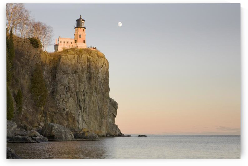 Minnesota, United States Of America; Split Rock Lighthouse On The North Shores Of Lake Superior With A Full Moon In The Sky by PacificStock