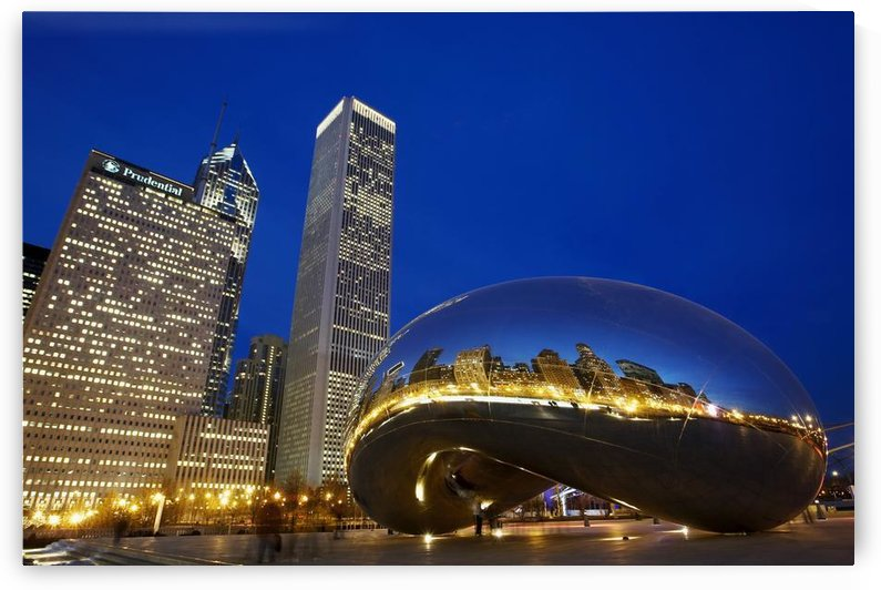 Cloud Gate (The Bean) Sculpture In Front Of Skyscrapers At Night, Chicago,Illinois,Usa by PacificStock