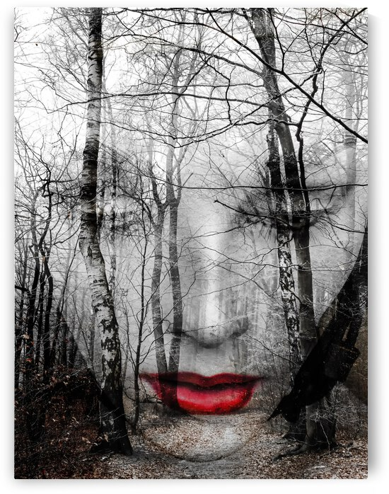 The face in the forest by Gabi Hampe