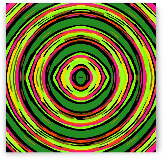 psychedelic graffiti circle pattern abstract in green pink and yellow by TimmyLA