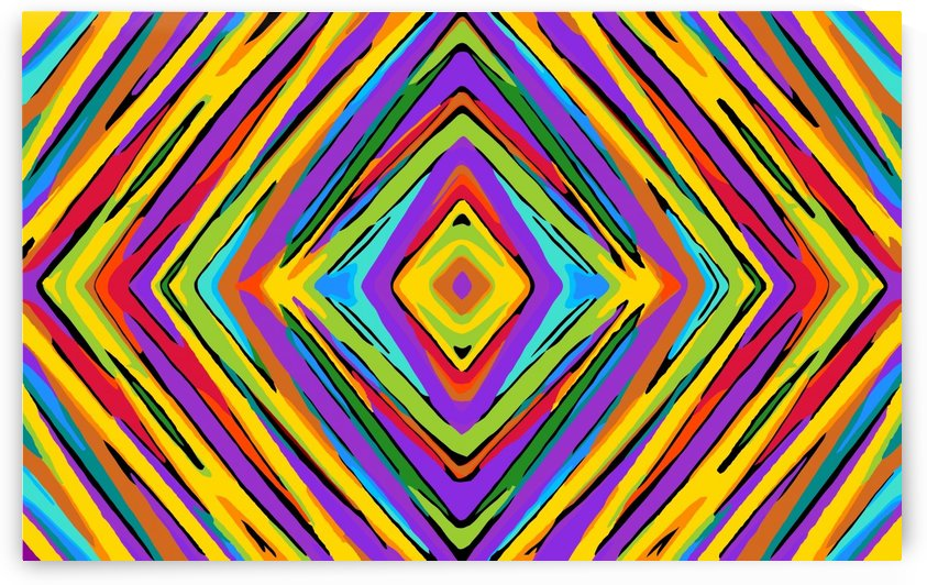 psychedelic geometric graffiti square pattern abstract in blue purple pink yellow green by TimmyLA