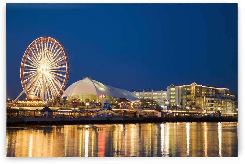 Amusement Park On Navy Pier At Dusk by PacificStock