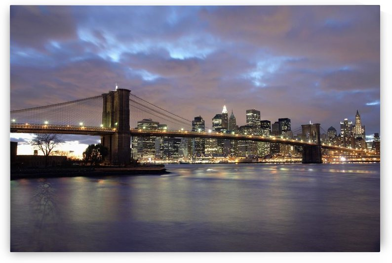 Brooklyn Bridge And Lower Manhattan At Dusk by PacificStock