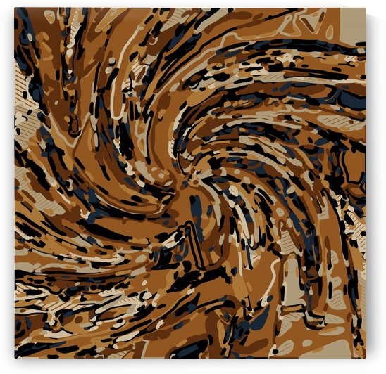 psychedelic graffiti drawing abstract in brown and blue by TimmyLA