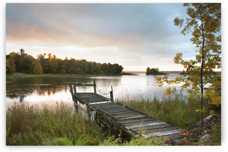 A Dock On A Lake At Sunrise Near Wawa; Ontario, Canada by PacificStock