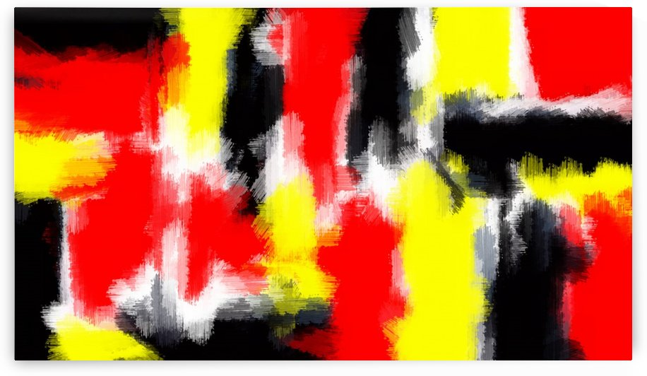 red yellow and black painting abstract texture with white background by TimmyLA