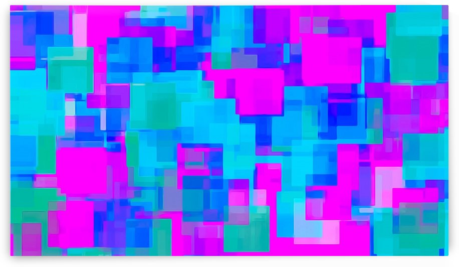 pink blue and green geometric square abstract background by TimmyLA