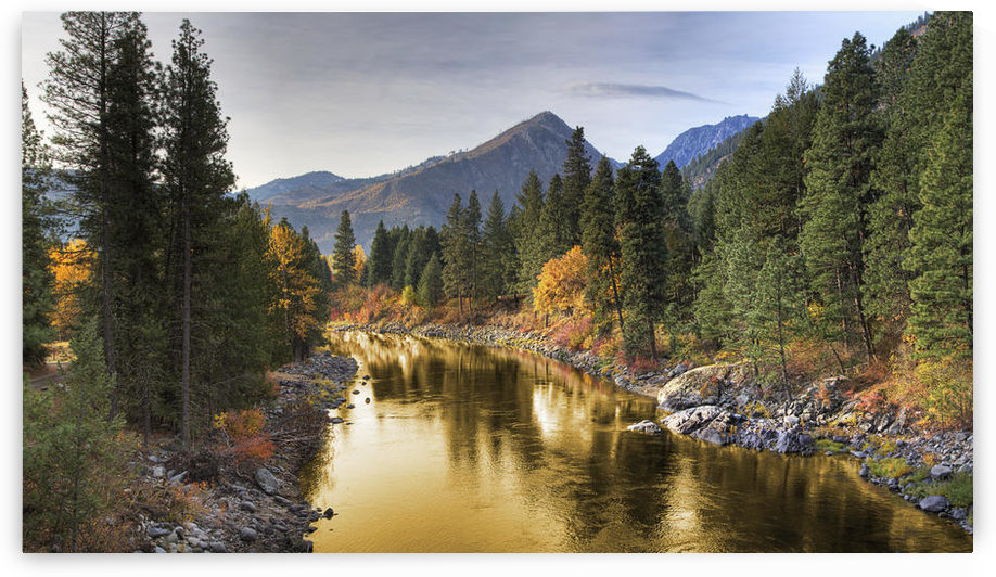 Composite Entitled 'river Of Gold' Taken From A Bridge Over The Icicle River; Leavenworth Washington United States Of America by PacificStock