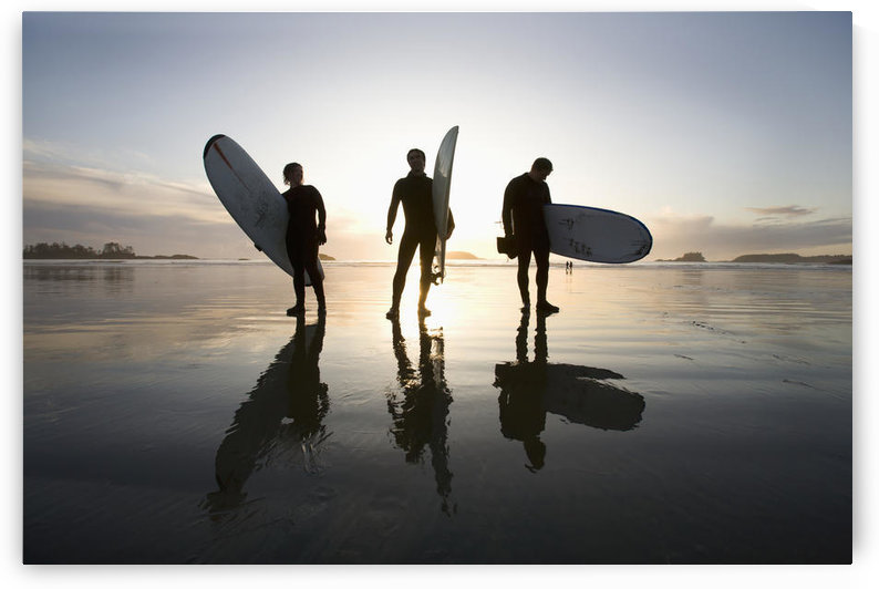 Silhouette Of Three Surfers Carrying Surfboards; Chesterman Beach Tofino Vancouver Island British Columbia Canada by PacificStock