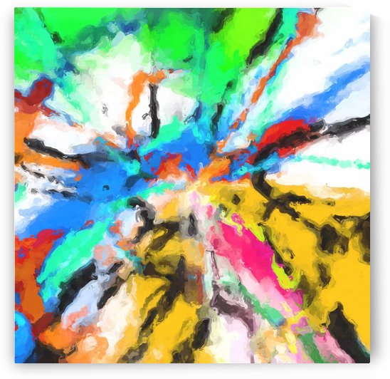 psychedelic graffiti painting abstract in blue green yellow red pink by TimmyLA