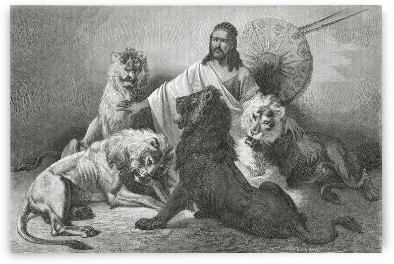 Tewodros Holding Audience, Surrounded By Lions. Tewodros Ii, Baptized Theodore Ii C. 1818 To 1868. Emperor Of Ethiopia. From El Mundo En La Mano Published 1875. by PacificStock