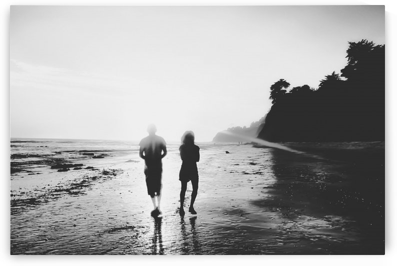 walking on the with sunset light in black and white by TimmyLA