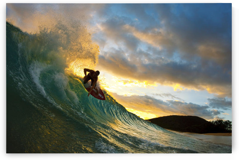 Hawaii, Maui, Makena - Big Beach, Skimboarder Carving Turquoise Wave, Sunset Light. by PacificStock