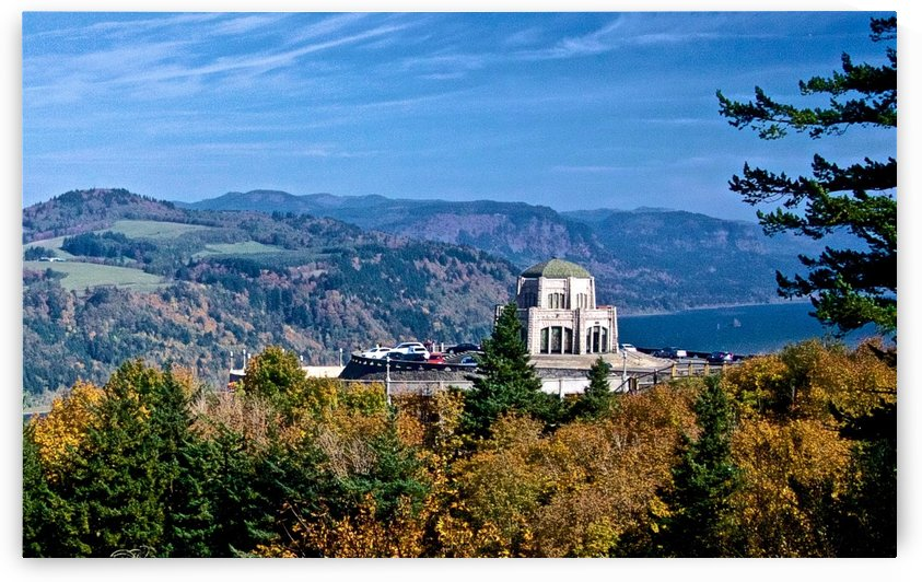 Crown Point overlooking Columbia River Gorge with fall colors by Craig Nowell Stott