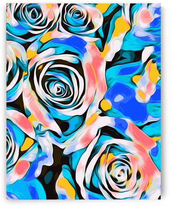 blue pink white and yellow roses texture background by TimmyLA
