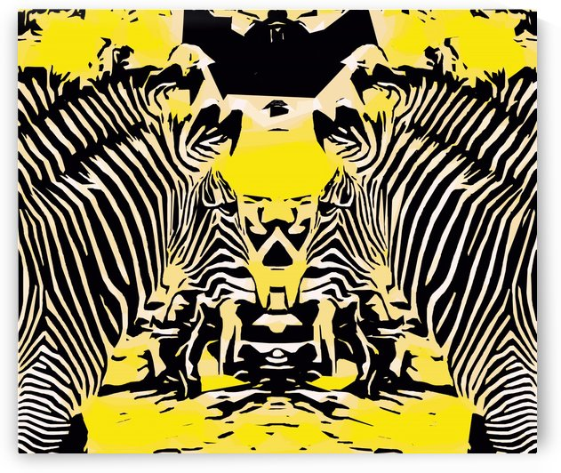 drawing and painting zebras with yellow and black background by TimmyLA