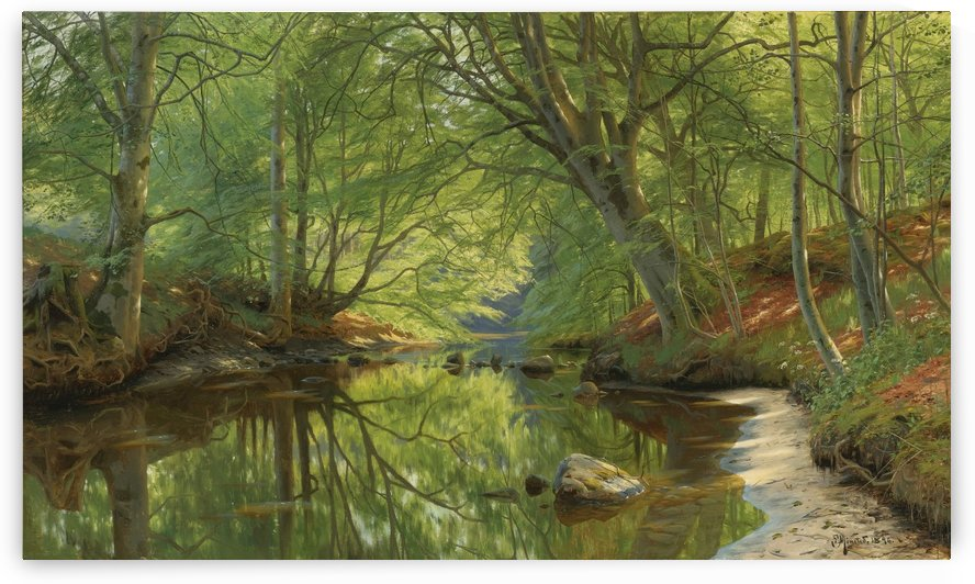 Landscape with several trees near a lake by Peter Mork Monsted