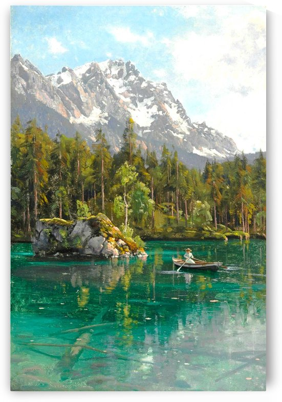 Landscape with peaks and a mountain lake by Peter Mork Monsted
