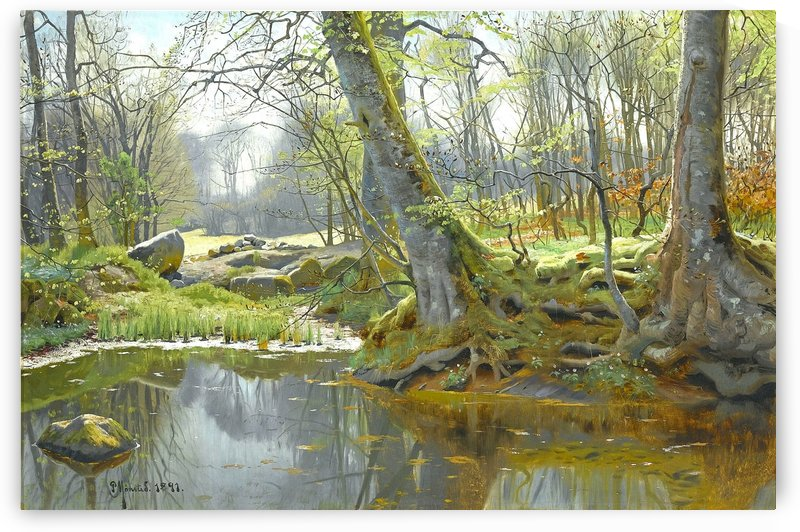 Spring landscape with lake and rocks in a forest by Peter Mork Monsted
