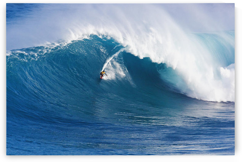 Hawaii, Maui, Peahi (Jaws), Surfer Rides A Giant Wave by PacificStock