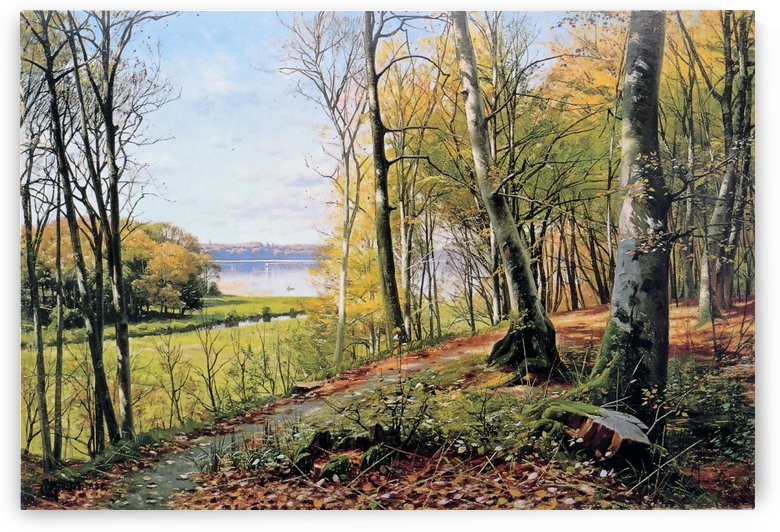 Beautiful landscape with a river going into a lake near a forest by Peter Mork Monsted