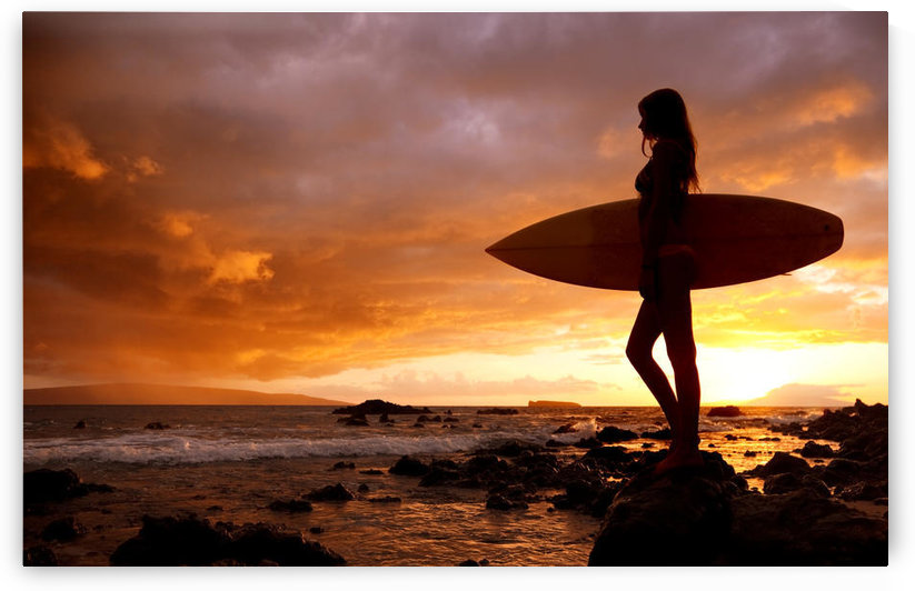 Hawaii, Maui, Makena, Silhouette Of Surfer Girl At Sunset by PacificStock