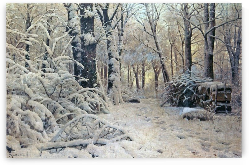Winter landscape along a path in the forest by Peter Mork Monsted