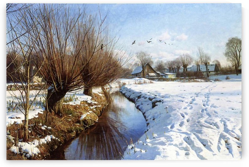 Winter landscape with several trees near the entrance in to a town by Peter Mork Monsted