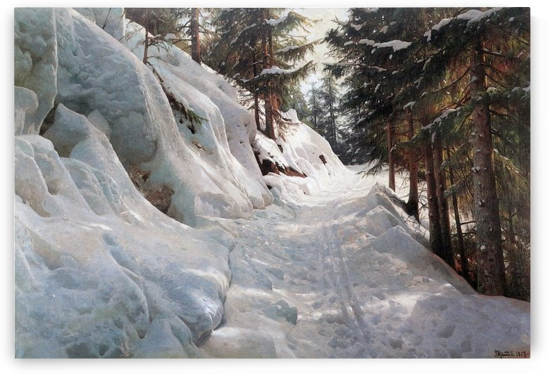 Winter landscape with a path between several trees by Peter Mork Monsted