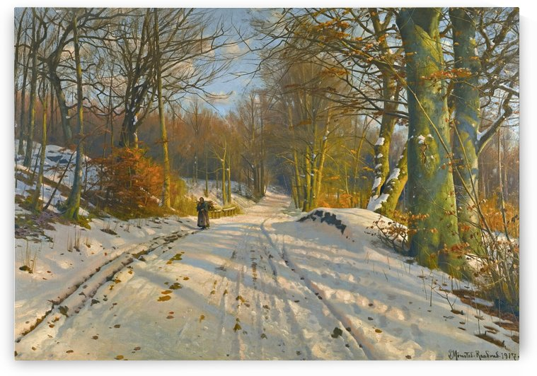 Winter landscape with a woman walking on a path between several trees by Peter Mork Monsted