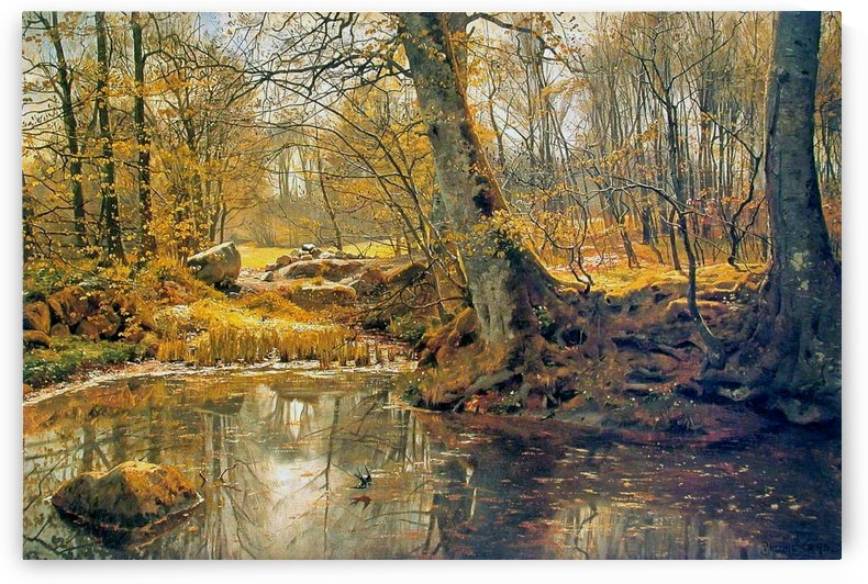 Winter landscape with birds and trees near frozen lake by Peter Mork Monsted